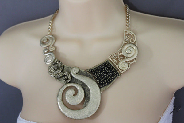 Gold Silver Copper Metal Chain Snail PendantNecklace New Women Fashion + Earrings Set - alwaystyle4you - 17