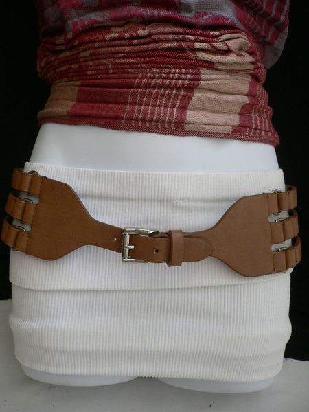 Aqua Blue Taupe Light Brown Black Red Faux Leather Elastic Hip Waist Belt Silver Buckle And Rings Rib Cage Women Fashion Accessories S M - alwaystyle4you - 27