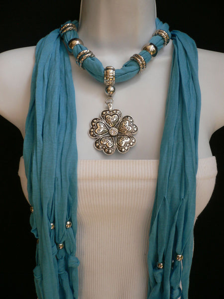 Blue Light Blue Black Dark Brown Light Pink Coral White Soft Scarf Necklace Heart Flower Silver Pendant New Women Fashion 6 Different Colors - alwaystyle4you - 28