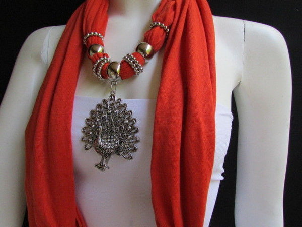 New Women Necklace Fashion Mocha Brown / Blue / Orange / Red / Green / Black Fabric Scarf Long Big Silver Peacock Pendant - alwaystyle4you - 20