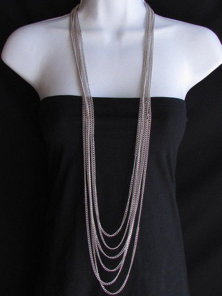 Long Gold / Silver Two Elegant Necklaces + Earring Set Thin Links New Women Fashion Jewelry - alwaystyle4you - 16