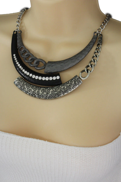 Gold Black / Silver Black Metal Plate Half Moon Necklace Chains + Earrings Set New Women Fashion Jewelry - alwaystyle4you - 16