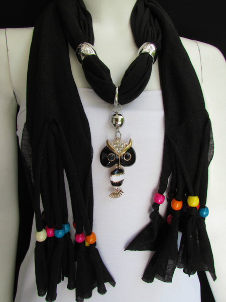 Gray Black Blue Beige White Scarf Long Necklace Multicolors Wood Beads Owl New Women Accessorie