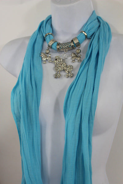 Blue, Black, L. Pink, Pink Fuscia Soft Fabric Scarf Silver Metal Poodle Dog Pendant New Women Fashion - alwaystyle4you - 26
