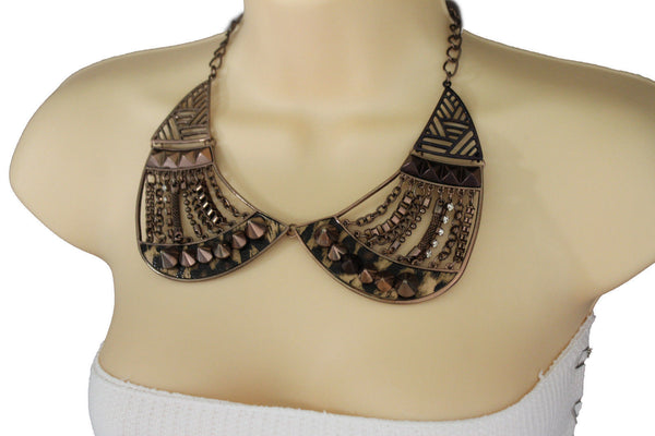 Bronze / Gold Short Bib Metal Chains Collar Spikes Necklace + Earrings Set New Women Fashion Jewelry - alwaystyle4you - 17
