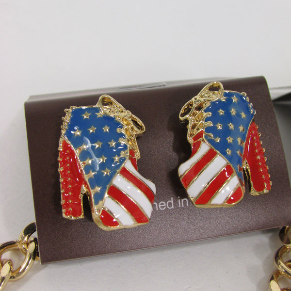 Large Metal High Heels Shoes Pendant Fashion Chains Gold / Silver Rhinestones American Flag USA Stars Necklace + Earrings Set - alwaystyle4you - 19