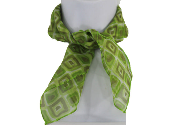 Green Blue Small Neck Scarf Fabric Geometric Square Print Pocket Square New Women Fashion - alwaystyle4you - 16
