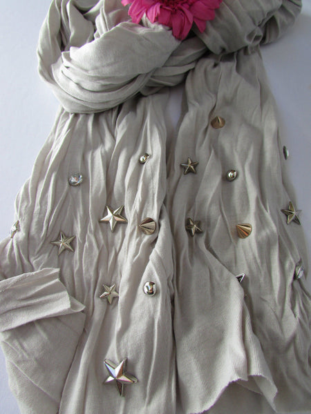 New Women Soft Fabric Fashion White / Blue /  Gray / Black Scarf Long Necklace Silver Metal Stars Studs - alwaystyle4you - 28