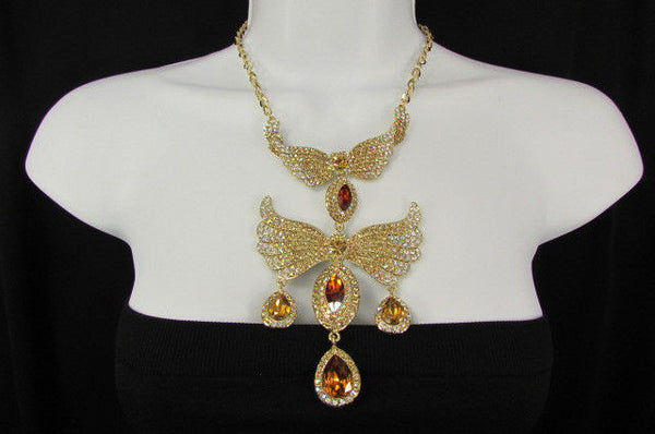 Metal Flying Wings Gold Silver Rhinestones Necklace + Earrings set New Women Fashion - alwaystyle4you - 21
