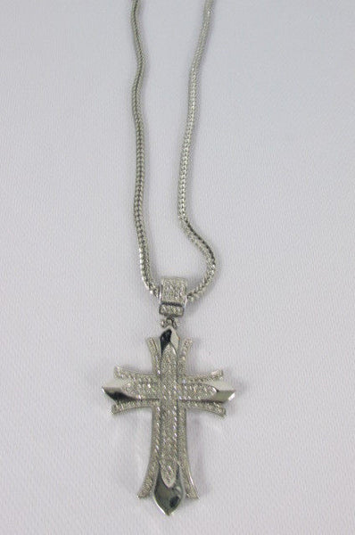 "Silver / Gold Metal Chain 35"" Long Fashion Necklace  Large Cross Pendant New Men - alwaystyle4you - 23"