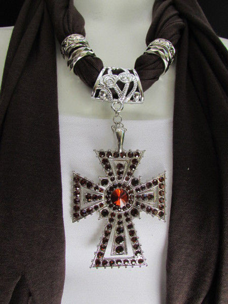 New Women Soft Fabric Dark Brown / Pink Scarf Necklace Western Rhinestones Cross Pendant - alwaystyle4you - 16