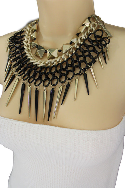 Gold / Black Gold Long Metal Chain Strand Spikes Charm Necklace + Earring Set New Women Fashion Jewelry - alwaystyle4you - 16