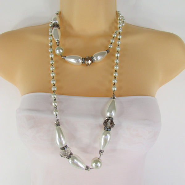 Long Imitations Pearls Necklace Small Gray Beads Beige Silver Color + Earrings Set New Women Fashion - alwaystyle4you - 16