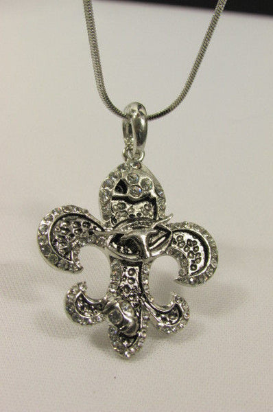 Silver Metal Fleur De Lis Lily Flower Bull Colorfull Rhinestones/ Silver Necklace New Women Fashion - alwaystyle4you - 16