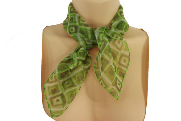 Green Blue Small Neck Scarf Fabric Geometric Square Print Pocket Square New Women Fashion - alwaystyle4you - 17