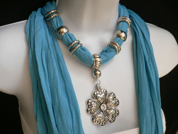 Blue Light Blue Black Dark Brown Light Pink Coral White Soft Scarf Necklace Heart Flower Silver Pendant New Women Fashion 6 Different Colors - alwaystyle4you - 29