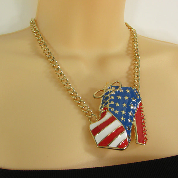 Large Metal High Heels Shoes Pendant Fashion Chains Gold / Silver Rhinestones American Flag USA Stars Necklace + Earrings Set - alwaystyle4you - 20