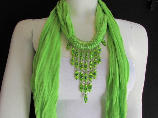 Black White Blue Purple Light Pink Lavander Lime Green Soft Scarf Long Necklace Triangle Big Rhinestones Pendant Women Fashion - alwaystyle4you - 74