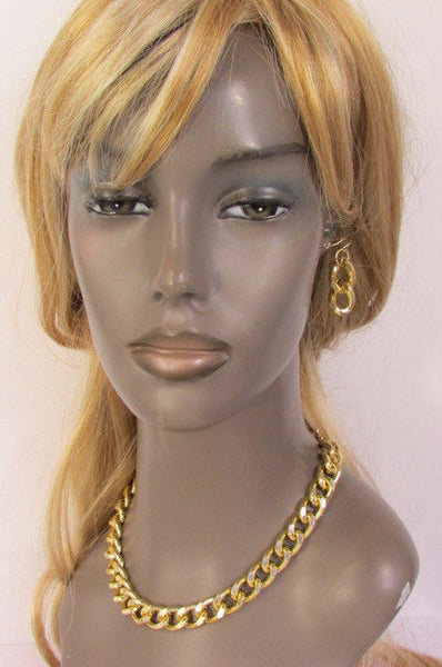 Gold / Silver Chunky Metal Thick Chain Links Hip Hop Necklace +Earring Set New Women Fashion - alwaystyle4you - 22