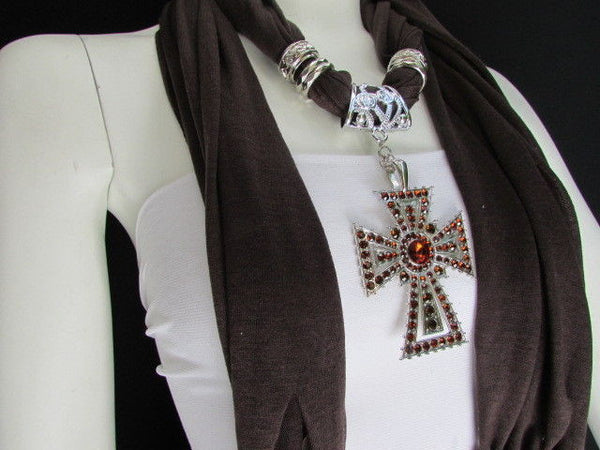 New Women Soft Fabric Dark Brown / Pink Scarf Necklace Western Rhinestones Cross Pendant - alwaystyle4you - 17