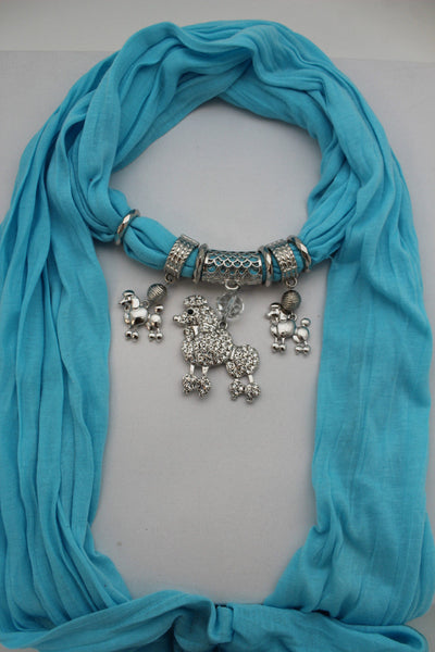 Blue, Black, L. Pink, Pink Fuscia Soft Fabric Scarf Silver Metal Poodle Dog Pendant New Women Fashion - alwaystyle4you - 27