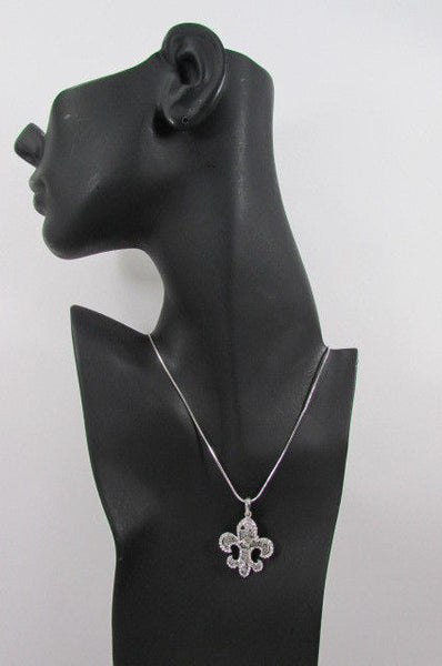 Silver Metal Fleur De Lis Lily Flower Bull Colorfull Rhinestones/ Silver Necklace New Women Fashion - alwaystyle4you - 17
