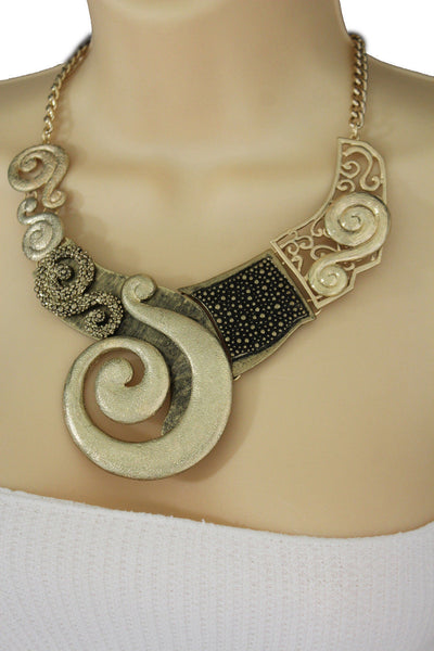 Gold Silver Copper Metal Chain Snail PendantNecklace New Women Fashion + Earrings Set - alwaystyle4you - 18