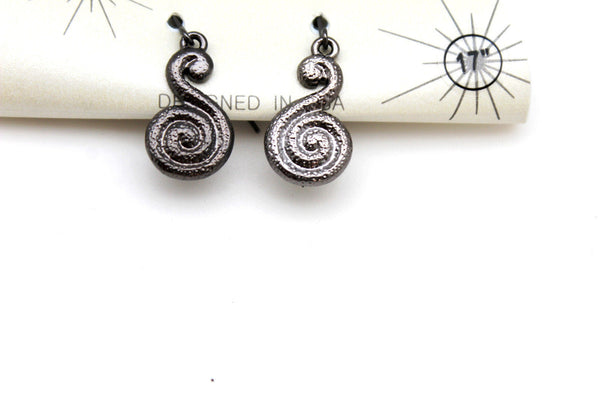 Silver / Pewter Black Choker Thin Metal Snail Spin Swirl Charm Necklace + Earrings Set New Women Fashion Jewelry - alwaystyle4you - 17