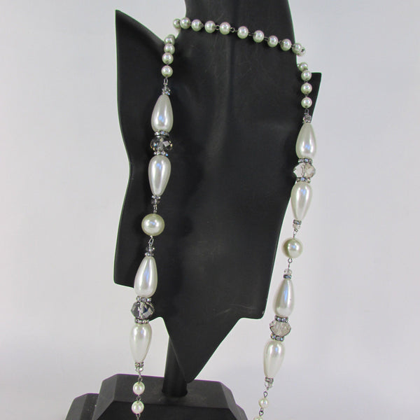 Long Imitations Pearls Necklace Small Gray Beads Beige Silver Color + Earrings Set New Women Fashion - alwaystyle4you - 17