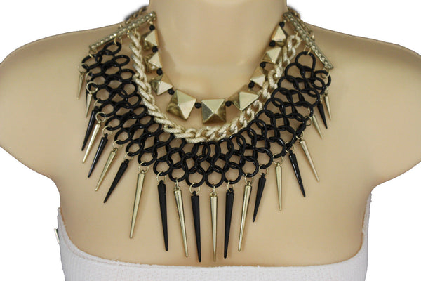Gold / Black Gold Long Metal Chain Strand Spikes Charm Necklace + Earring Set New Women Fashion Jewelry - alwaystyle4you - 17