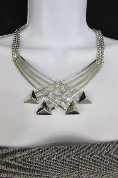 "Gold Silver New Women 14"" Strands Metal Chains Fashion Necklace Arrows + Earring Set - alwaystyle4you - 22"