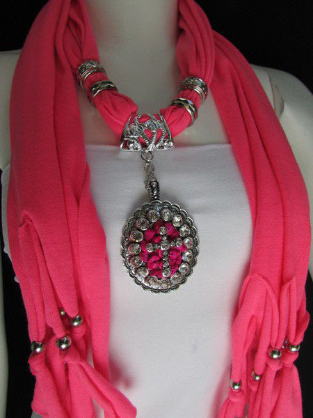 Pink Blue Beads Fabric Scarf Long Necklace Rhinestones Cross Pendant New Women Fashion Accessories