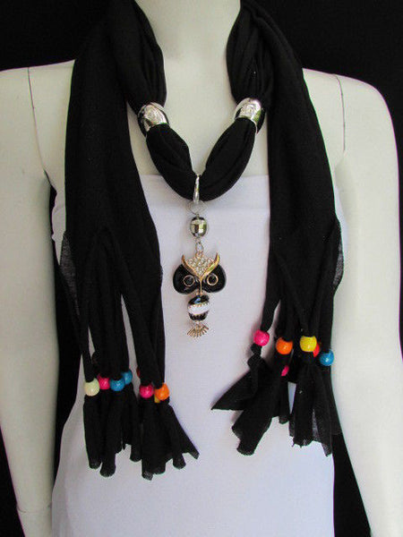 Black, Blue, Beige, Gray, White Soft Scarf Long Necklace Multicolors Wood Beads Owl Pendant New Women Fashion Accessory - alwaystyle4you - 17