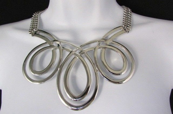 Gold / Silver Twisted 3 Drops Chain Necklace + Earring Set New Women Chunky Fashion - alwaystyle4you - 17