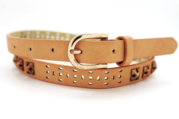 Beige Peach / Black Thin Narrow Faux Leather Belt Bronze Studs Gold Buckle New Women Fashion Accessories S M - alwaystyle4you - 4