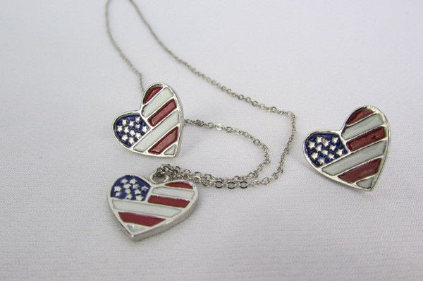 USA American Flag Star/Square/Heart Silver Metal Necklace + Matching Earring Set New Women - alwaystyle4you - 23