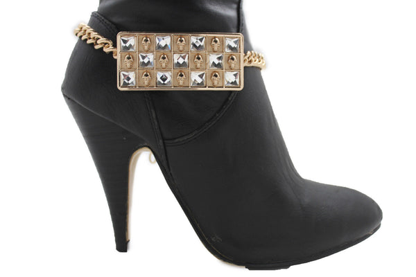 Silver Gold Metal Plate Chain Mini Skulls Bling Anklet Shoe Charm New Women Boot Bracelet Jewelry - alwaystyle4you - 17