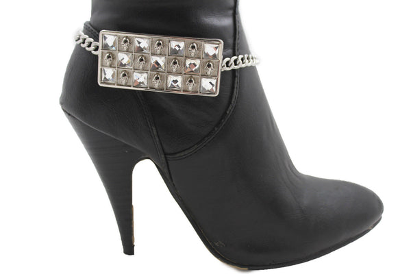 Silver Gold Metal Plate Chain Mini Skulls Bling Anklet Shoe Charm New Women Boot Bracelet Jewelry - alwaystyle4you - 1