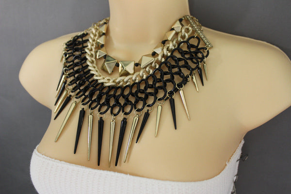 Gold / Black Gold Long Metal Chain Strand Spikes Charm Necklace + Earring Set New Women Fashion Jewelry - alwaystyle4you - 18