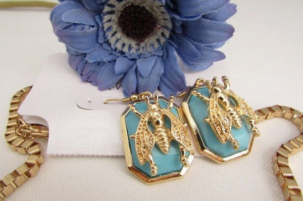 Trendy Blue / Black Bead Insect Flies Bugs Gold Chain Necklace + Matching Earring Set New Women Fashion - alwaystyle4you - 23