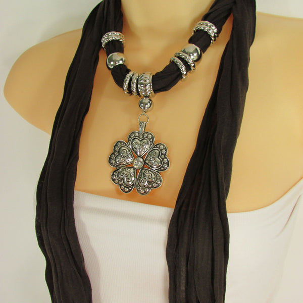 Blue Light Blue Black Dark Brown Light Pink Coral White Soft Scarf Necklace Heart Flower Silver Pendant New Women Fashion 6 Different Colors - alwaystyle4you - 77