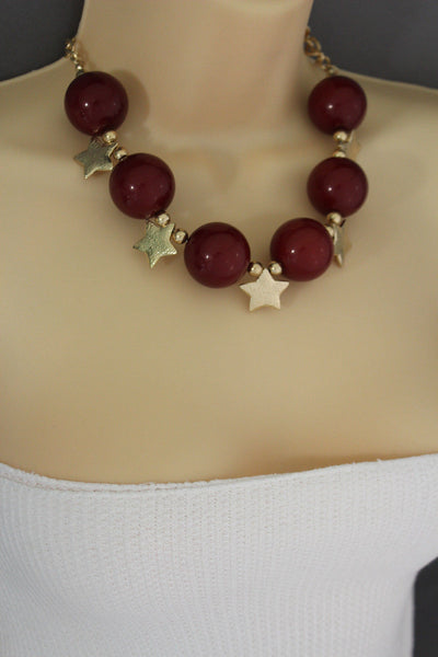Black / Silver / Gold / Red / White Metal Stars Ball Beads Short Ivory Necklace + Earring Set New Women Fashion Jewelry - alwaystyle4you - 45