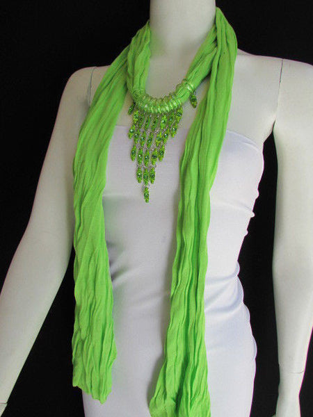 Black White Blue Purple Light Pink Lavander Lime Green Soft Scarf Long Necklace Triangle Big Rhinestones Pendant Women Fashion - alwaystyle4you - 75
