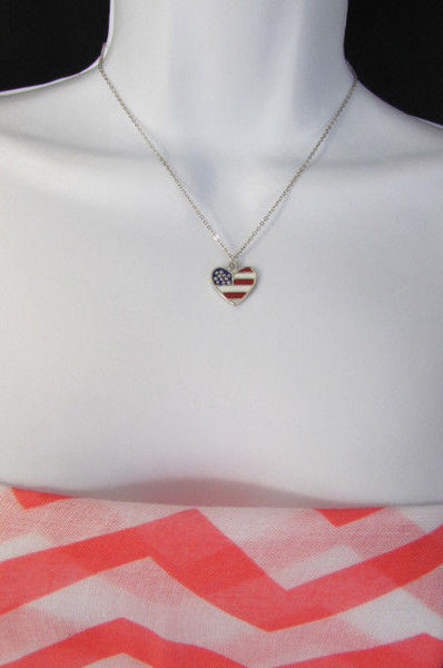 USA American Flag Star/Square/Heart Silver Metal Necklace + Matching Earring Set New Women - alwaystyle4you - 24