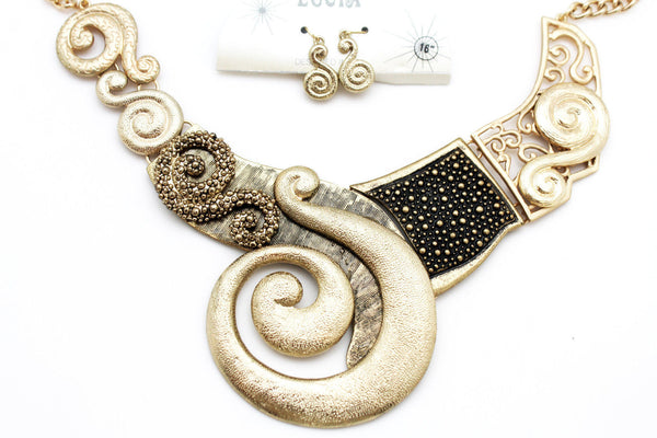 Gold Silver Copper Metal Chain Snail PendantNecklace New Women Fashion + Earrings Set - alwaystyle4you - 19