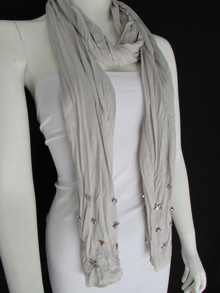 New Women Soft Fabric Fashion White / Blue /  Gray / Black Scarf Long Necklace Silver Metal Stars Studs - alwaystyle4you - 30