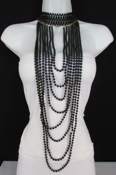 Black / White Metal Beads Extra Long 8 Strands Choker Necklace New Women Fashion - alwaystyle4you - 26