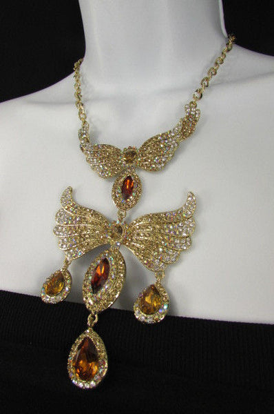 Metal Flying Wings Gold Silver Rhinestones Necklace + Earrings set New Women Fashion - alwaystyle4you - 23