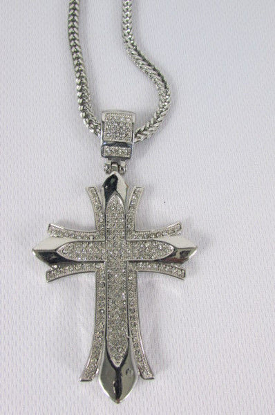 "Silver / Gold Metal Chain 35"" Long Fashion Necklace  Large Cross Pendant New Men - alwaystyle4you - 25"