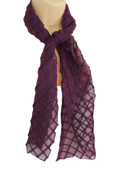 Blue Purple Green Red White Brown New Women Fashion Long Neck Scarf Soft Fabric Tie Wrap Geometric Mosaic Plaid - alwaystyle4you - 18